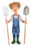 3d farmer with shovel and fork. Illustration with isolated white background stock illustration