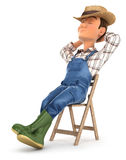 3d farmer sleeping on chair. Illustration with  white background Royalty Free Stock Photography