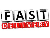 3D Fast Delivery Button Click Here Block Text. Over white background Royalty Free Stock Images