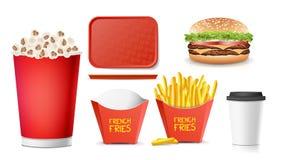 3D fasta food wektor Smakowity hamburger, hamburger, dłoniaki, soda, kawa, Papierowa filiżanka, tacy Salver, popkorn odosobniony Fotografia Stock