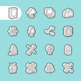 3D Fat Line Icons Stock Image