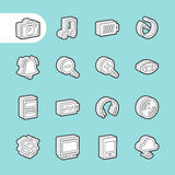3D Fat Line Icons Stock Photography