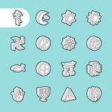 3D Fat Line Icons Royalty Free Stock Photos