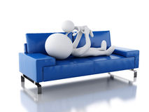 3d Father playing with her baby as lying on sofa Royalty Free Stock Photography