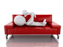 3d Father playing with her baby as lying on sofa Royalty Free Stock Images