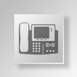 3D Fax Machine Button Icon Concept Stock Foto's
