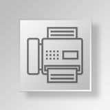 3D Fax Machine Button Icon Concept Royalty-vrije Stock Foto