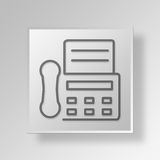 3D Fax Machine Button Icon Concept Images libres de droits