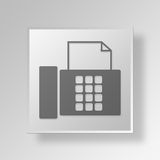 3D Fax Machine Button Icon Concept Stock Afbeeldingen