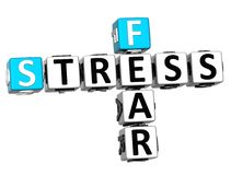 3D Fear Stress Crossword. On white background Royalty Free Stock Images