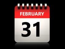 3d 31 february calendar. 3d illustration of 31 february calendar over black background Stock Photo