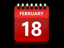 3d 18 february calendar. 3d illustration of february 18 calendar over black background Royalty Free Stock Images