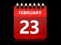 3d 23 february calendar. 3d illustration of february 23 calendar over black background Stock Photography