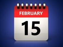 3d 15 february calendar Royalty Free Stock Photos