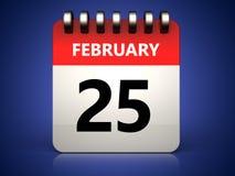 3d 25 february calendar. 3d illustration of 25 february calendar over blue background Stock Photos