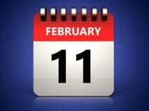 3d 11 february calendar. 3d illustration of 11 february calendar over blue background Stock Photography