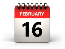 3d 16 february calendar Royalty Free Stock Images