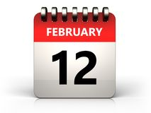 3d 12 february calendar. 3d illustration of 12 february calendar over white background Stock Photos