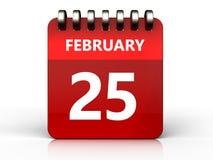 3d 25 february calendar. 3d illustration of february 25 calendar over white background Royalty Free Stock Image