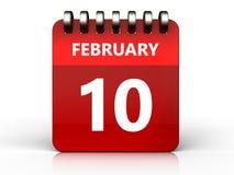 3d 10 february calendar Stock Images