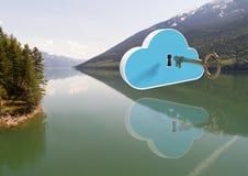 3D fecham a nuvem da abertura que flutua sobre o lago da montanha Fotografia de Stock Royalty Free