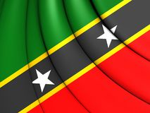 Federation of Saint Kitts and Nevis Flag. 3D Federation of Saint Kitts and Nevis Flag Royalty Free Stock Image