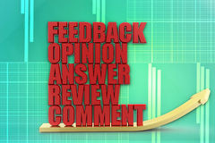 3d feedback opinion answers review comment illustration Stock Photo