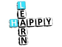 3D felici imparano le parole incrociate Immagine Stock Libera da Diritti