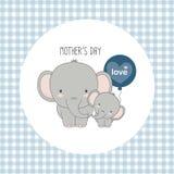 D?a feliz del `s de la madre Elefante de la madre con el ni?o stock de ilustración