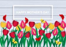 D?a feliz del `s de la madre Sistema colorido de flores de la primavera El papel coloreado cort? fotografía de archivo