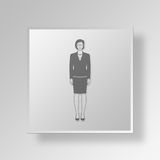 3D Female CEO icon Business Concept. 3D Symbol Gray Square Female CEO icon Business Concept Stock Photography