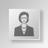 3D Female CEO icon Business Concept. 3D Symbol Gray Square Female CEO icon Business Concept Stock Photo