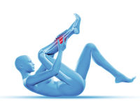 3D female figure holding leg in pain Royalty Free Stock Photography