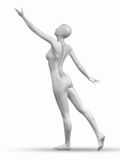 3D female figure reaching with spine exposed Stock Image