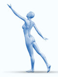 3D female figure reaching with spine exposed Stock Photos