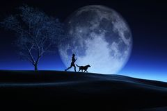 3D female and her dog jogging in a night landscape with moon in. 3D render of a female and her dog jogging in a night landscape with moon in sky Royalty Free Illustration