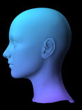 3D female mode. Colorful 3D female face model on black background Royalty Free Stock Image