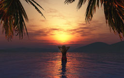 3D female in the sea at sunset Royalty Free Stock Photos