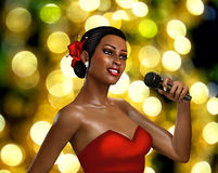 3d female singer with microphone Royalty Free Stock Photography