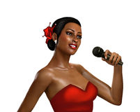 3d female singer with microphone Royalty Free Stock Photo