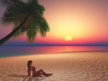 3D female sunbathing on beach at sunset Royalty Free Stock Photography