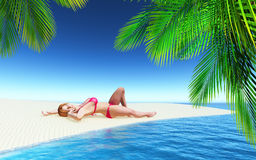 3D female sunbathing on a tropical beach Royalty Free Stock Photography