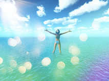 3D female in tropical sea with retro effect Royalty Free Stock Photos