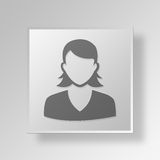 3D female user icon Business Concept Stock Photos