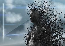 3D femmina nera AI contro lo schermo e le nuvole di vetro Fotografie Stock