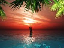 3D femminile nel mare contro un cielo di tramonto illustrazione di stock