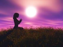 3D femminile nella posa di yoga contro il paesaggio di tramonto illustrazione di stock