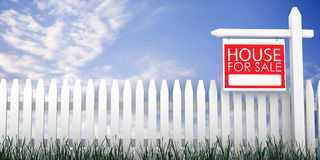 3d: Fence with For Sale Sign Royalty Free Stock Photos