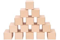 3D festgelegtes Bild Pyramide von den Kästen Lizenzfreie Stockbilder