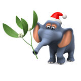 3d Festive elephant with mistletoe Stock Photo